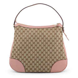 New Gucci Large Bree Canvas Beige Pink Leather Gg Guccissima Hobo Shoulder Bag