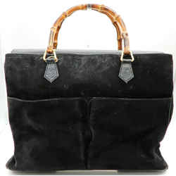 Authentic Gucci Bamboo Top Handle Black Suede 2way Leather Tote Handbag Italy