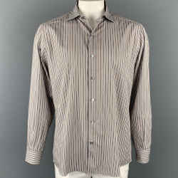 ERMENEGILDO ZEGNA Size XL Rust & Grey Stripe Cotton Button Up Long Sleeve Shirt