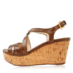 Prada Brown Leather Wedge Sandals