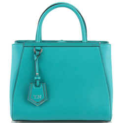Fendi Blue Green Lago Calf Leather Petite 2jours Tote
