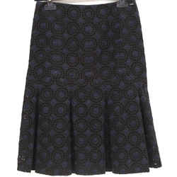 Chanel 06p Black Navy Blue Skirt Floral Eyelet Zipper Cotton Blend Sz 36
