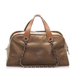 Vintage Authentic Chanel Brown Lambskin Leather Leather CC Satchel Italy