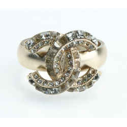 Chanel Gold-tone Metal and Crystal CC Ring