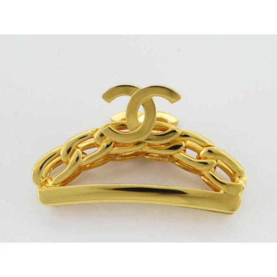Chanel 98p Gold Plated CC Logo Chain Hair Clip 861200
