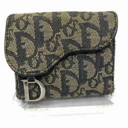 Dior Navy Monogram Trotter Saddle Compact Wallet 860097