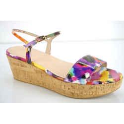 Stuart Weitzman Diverge Multi Color Platform Sandals Sz 9.5 Ankle Strap $375 Nib