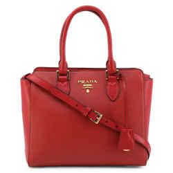 New Prada Red Saffiano Leather 2 Way Crossbody Handbag Tote Bag