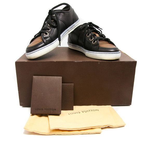Louis Vuitton Black Leather Caramel Toe Sneakers
