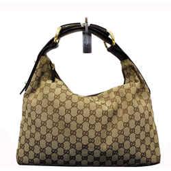 Gucci Beige Gg Canvas Medium Horsebit Hobo Bag