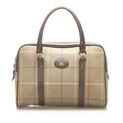 Vintage Authentic Burberry Brown Canvas Fabric Plaid Boston Bag United Kingdom