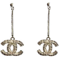 Chanel Crystal Cc Dangle Classic Earrings