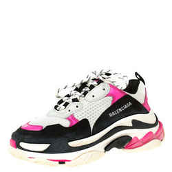 Balenciaga Pink Mesh And Leather Triple S Clear Sole Platform Sneakers Size 39