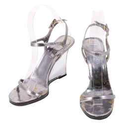Gucci Arcylic Sandals Wedges Gray/silver Size 7 Authenticity Guaranteed