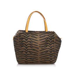 Vintage Authentic Fendi Brown Canvas Fabric Tiger Print Handbag Italy