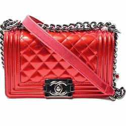 Auth Chanel Boy Chanel Patent Mini Chain Shoulder Red Leather Bag