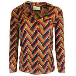 Gucci Chevron Print Silk & Wool Button Down Shirt