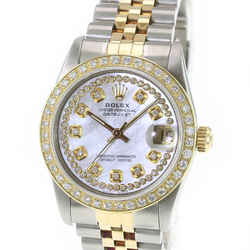 Rolex LADIES Watch Datejust 68273 White MOP Diamond Dial Diamond Bezel 31mm