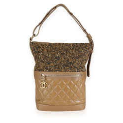 Chanel Tweed & Camel Quilted Aged Calfskin Medium Casual Style Hobo