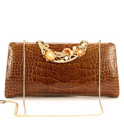 Judith Leiber Shoulder Bag Crocodrile Clutch/shoulder W/enamel Flowers Brown Leather Clutch