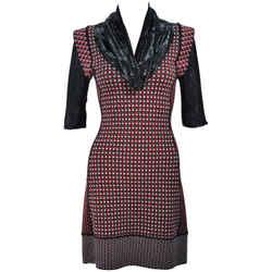 JEAN PAUL GAULTIER Stretch Wool Dress w/ Mesh Collar Size XS