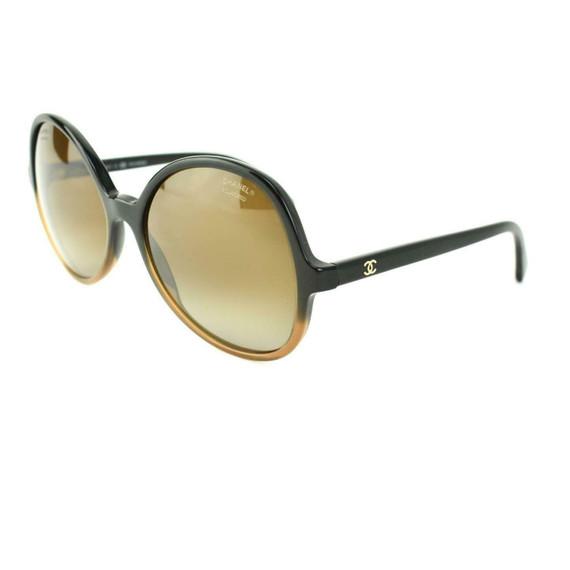 """CHANEL: Brown, Ombre & """"CC"""" Logo Polarized Sunglasses (lq)"""