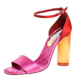Stella McCartney Red/Pink Satin Lucite Block Heel Ankle Strap Sandals Size 38.5