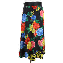 Black Floral Multi Color Silk Skirt