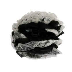 Dolce & Gabbana Black White Floral Lace Crystal Hair Women's Claw