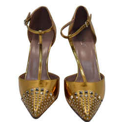 GUCCI  Studded T-Strap Metallic Leather Heel Pumps Gold Size 39 1/2