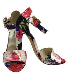 Brian Atwood Multi Color Floral Printed Silk with Crystal Buckle Sandals Size: EU 38.5 (Approx. US 8.5) Regular (M, B) Item #: 25456397