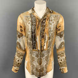 Vintage JEAN PAUL GAULTIER FEMME Size M Tan & Beige Print Silk Pleated Shirt