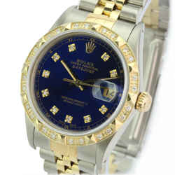 Rolex Mens Datejust 16233 Two-tone 36mm Blue MOP Diamond Dial Bezel Watch-Quick