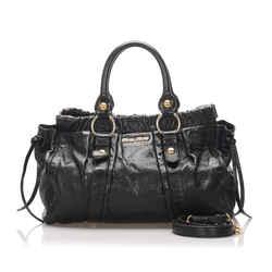 Vintage Authentic Miu Miu Black Calf Leather Vitello Lux Satchel Italy