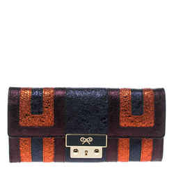 Anya Hindmarch Metallic Multicolor Ceramic Effect Patent Leather Continental ...