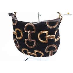 Gucci Black And Brown Canvas Hobo Shoulder Bag