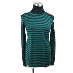 Akris Punto Green Black Stripes Wool Sweater Sz 4