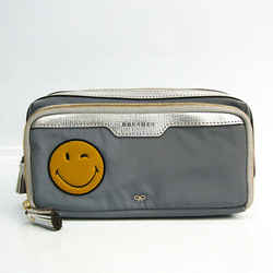 Anya Hindmarch Smile Women's Leather,Nylon Clutch Bag Gray,Silver,Yello BF523352