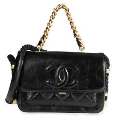 Chanel Black Crinkled Calfskin En Vogue Rope Flap Bag