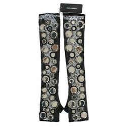 Dolce & Gabbana Black Cashmere Sequined Finger Less Women's Gloves
