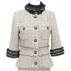 CHANEL Tweed Jacket Blazer Beige Black Plaid Fringe RUNWAY 2010 Sz 42
