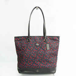 Coach Lunch Floral Print F59435 Women's Leather,Nylon Tote Bag Black,Mu BF527771