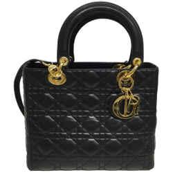 "Dior Lady Medium Black Leather Satchel 8""L x 10""W x 4.5""H Length: T Item #: 25072342"