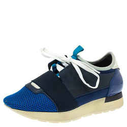 Balenciaga Blue Mesh And Leather Race Runner Low Top Sneaker Size 37