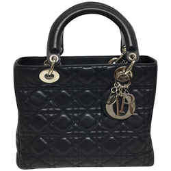 "Dior Lady Medium Navy Leather Satchel 7.5""L x 10""W x 3.5""H Item #: 25613984"