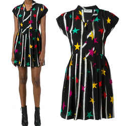 42 NEW $2600 SAINT LAURENT Black STAR STRIPES Rocker TIE NECK Silk SHIRT DRESS
