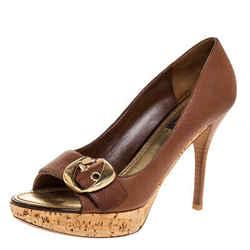 Louis Vuitton Brown Leather Cork Platform Peep Toe Pumps Size 37.5