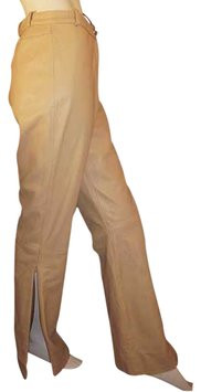 St. John Couture Caramel Brown Leather Slit Pants 8/10 NWT