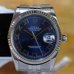 Rolex Datejust 16234 Blue Roman Dial Fluted-ALL FACTORY