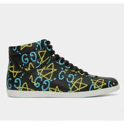 New Gucci  Top Ghost Graffiti Print Black Leather Sneakers Shoes
